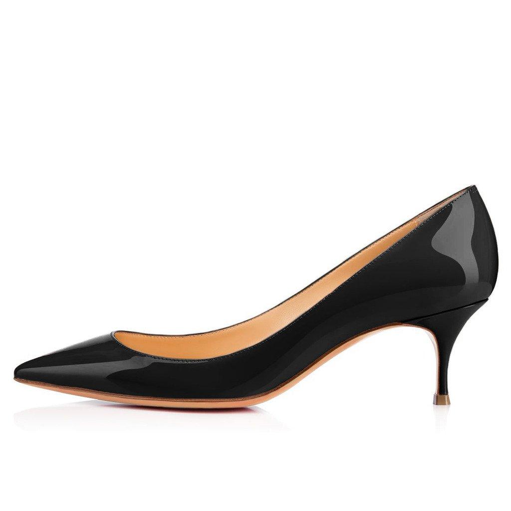 FSJ Women's Mid High Kitten Heels Pointy Floral Print Shoes Pointy Heels Toe Pumps Size 4-15 B01M0AAMV8 14 B(M) US|Black 69f798