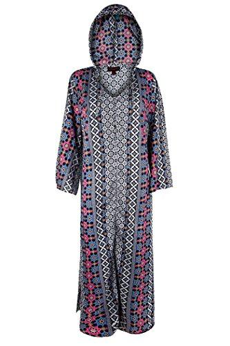 New Ladies Full Length Hooded Ethnic Print Kaftan Dubai Abaya Dress Plus Size 24