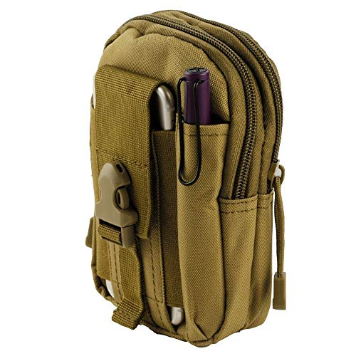 Bemz Travel Pouch Compatible with Samsung Galaxy S9/S9+ Plus/S8/S8 Plus/S8 Active/Note 8, 600D Waterproof Nylon Material Tactical MOLLE Organizer Carrying Holster Case - Khaki Army Green