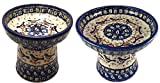 Polish Pottery BB Robin Raised Cat or Small Dog and Dry Food Dish (or Water Bowl)