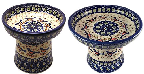 Polish Pottery BB Robin Raised Cat or Small Dog and Dry Food Dish (or Water Bowl) by Poughkeepsie Polish Pottery & More