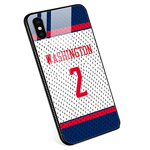 iPhone XR Case, Tempered Glass Wall Jersey Pattern Design Black Cover Basketball Sport Case for iPhone XR 6.1 - Washington #2 (Wall Covers Washington)