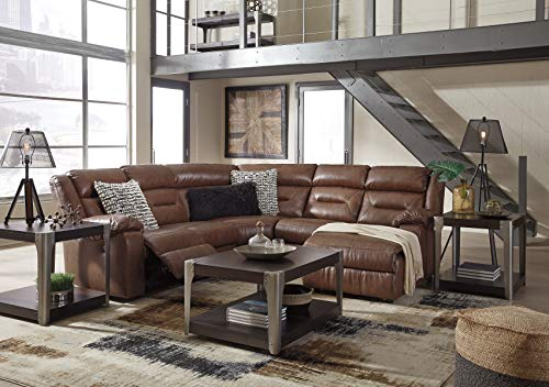Chaise Arm Sectional - Vani Contemporary Chestnut Faux Leather Right-arm Facing Reclining Sectional Sofa