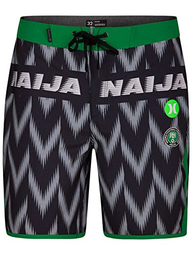 Hurley AJ6982 Men's Phantom Nigeria National Team Short, Black - 38