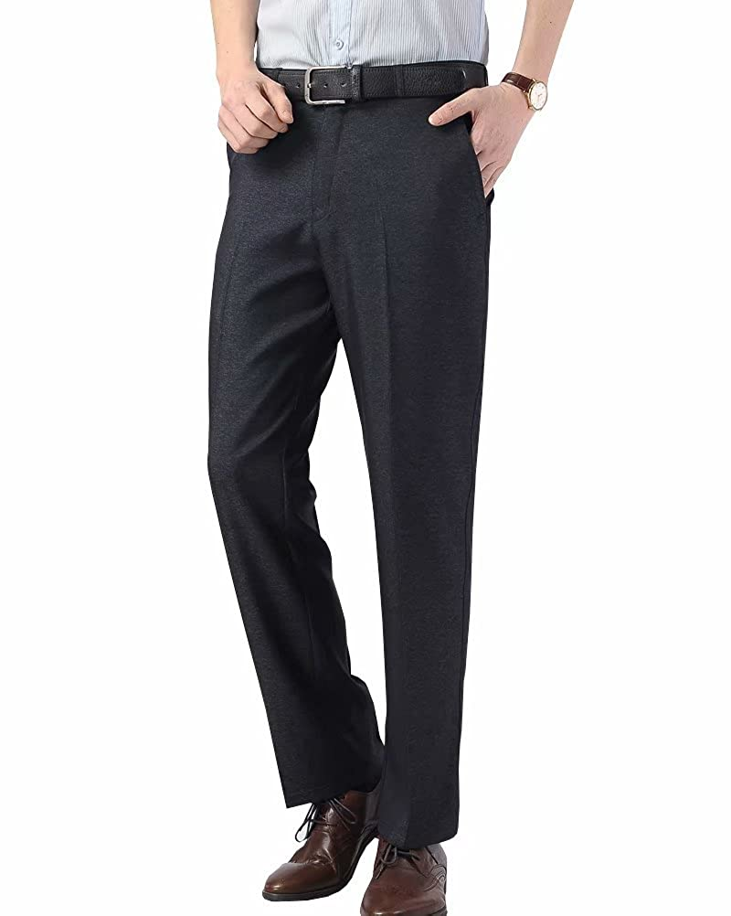 Wxian Mens Loose Straight Casual Polyester Dress Pants