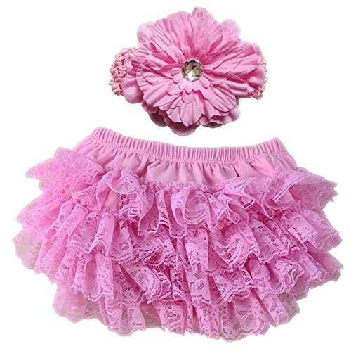 Ruffle Brief - October Elf Baby Girl's Briefs Lace Ruffle Bloomer and Headband Diaper Cover (L(12-24M), Pink)