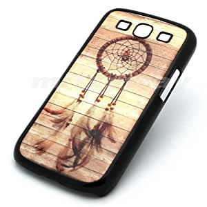 BLACK Samsung Galaxy S3 SIII i9300 Snap On Case WOOD DREAMCATCHER feather mayan aztec tribal by runtopwell