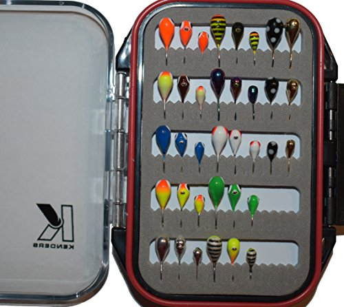 Kenders Tungsten Ice Fishing Jig Kits with Premium Double-Sided Jig Box