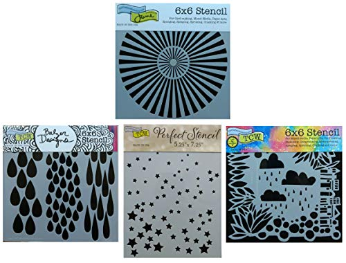 4 Crafters Workshop Stencils | Sunburst, Cloud, Stars, Rain, Sky, City Designs | Mixed Media Stencils Set Includes 6 Inch x 6 Inch Templates for Painting, Arts, Card Making, Journaling, Scrapbooking ()