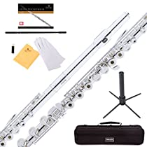 Mendini Intermediate Open/Closed-Hole Silver Plated C Flute with B Foot Joint Includes 1 Year Warranty, Stand, Case, Cleaning Rod, Cloth, Joint Grease, and Gloves - MFE-30S+SD+PB
