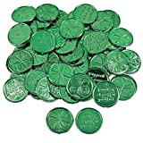 """144 (1 Gross) ~ 4-leaf Clover Good Luck Coins ~ Plastic ~ Approx. 1.5"""" ~ New ~ St. Patrick's Day, Shamrock"""