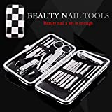 Stainless Steel Professional Nail Clipper 16PCS Sets,Armor Nail Beauty Tools Nail Clippers Nail Scissors Knife Set with Black and White Grid Leather Travel Case