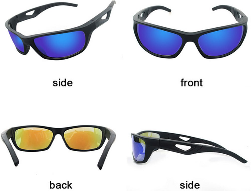 Polarized Sunglasses Anti Glare Driving Wrap Around Driving Square Frame Motorcycle Block Comfortable Durable Construction Outdoor Sports Eyewear UV blue by ZHIYIJIA (Image #2)