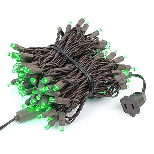 Novelty Lights 100 Light LED Christmas Mini Light Set, Outdoor Lighting Party Patio String Lights, Green, Brown Wire, 34 Feet