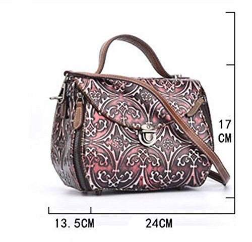 Portable And Diagonal Five Embossed Handbag Vintage Green Lady Rrock Shoulder Red Fashion Colors P8nUIEWnqw