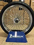 21 x3.5'' Chrome Mammoth 48 Fat Spokes Front Wheel With Blackwall Michelin Tire And Rotor Package for Harley-Davidson Dual Disc