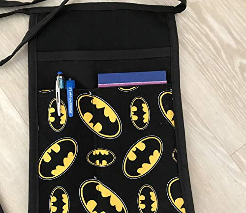 Black I Pad, Hip Side Apron money Pouch Waitress pockets. Check out all 51 prints @(Handmade Janet aprons) Batman Restaurant Bars Cafes Janet's Aprons