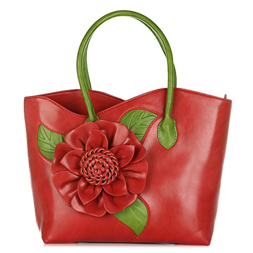 Stylish Designer Handbags - Women 3D Flower Seris PU Leather Tote Bag By Vanillachocolate (Large, Red)