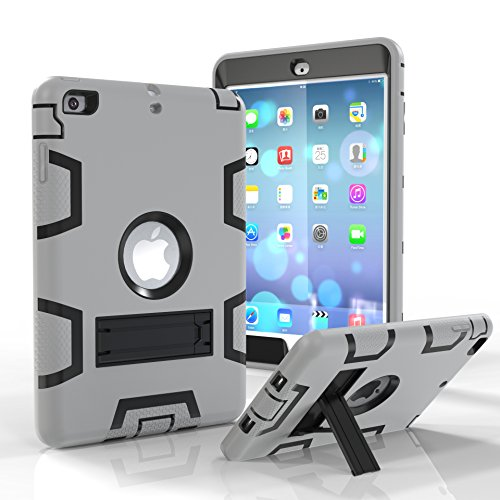 iPad Mini 2 Case, iPad Mini 3 Case, iPad Mini Case, Jeccy Three layer Anti-slip Rugged Full-body Shock Proof Hybrid Heavy Duty Armor Defender Protective Case with Kickstand for Apple iPad Mini1/2/3 (Zagg Pro Plus For Ipad 2 3 4)