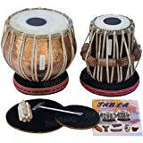 Maharaja Musicals Tabla Set, Professional, 3.5 Kilograms Copper Bayan - Flower Design, Sheesham Dayan - C Sharp, Padded Bag, Hammer, Cushions, Cover, Tabla Hand Drums Indian (PDI-BHJ)