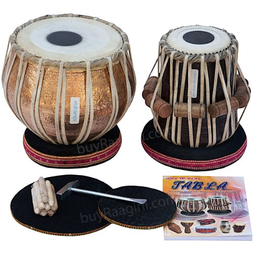 Maharaja Musicals Tabla Set, Professional, 3.5 Kilograms Copper Bayan - Flower Design, Sheesham Dayan - C Sharp, Padded Bag, Hammer, Cushions, Cover, Tabla Hand Drums Indian (PDI-BHJ) by Maharaja Musicals