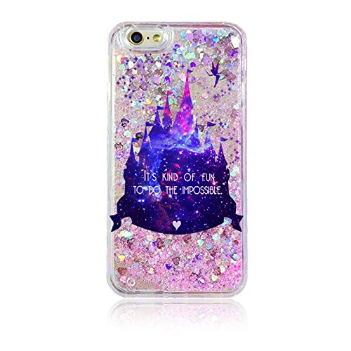 iPhone 6 / 6S , Soft Pink Glitter Rubber Silicone Case Cover for Apple - Purple Dream Castle