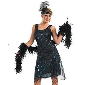 Ladies 4Pc Black 1920s 1930s Flapper With Feather Boa Gatsby Fancy Dress Costume Outfit UK