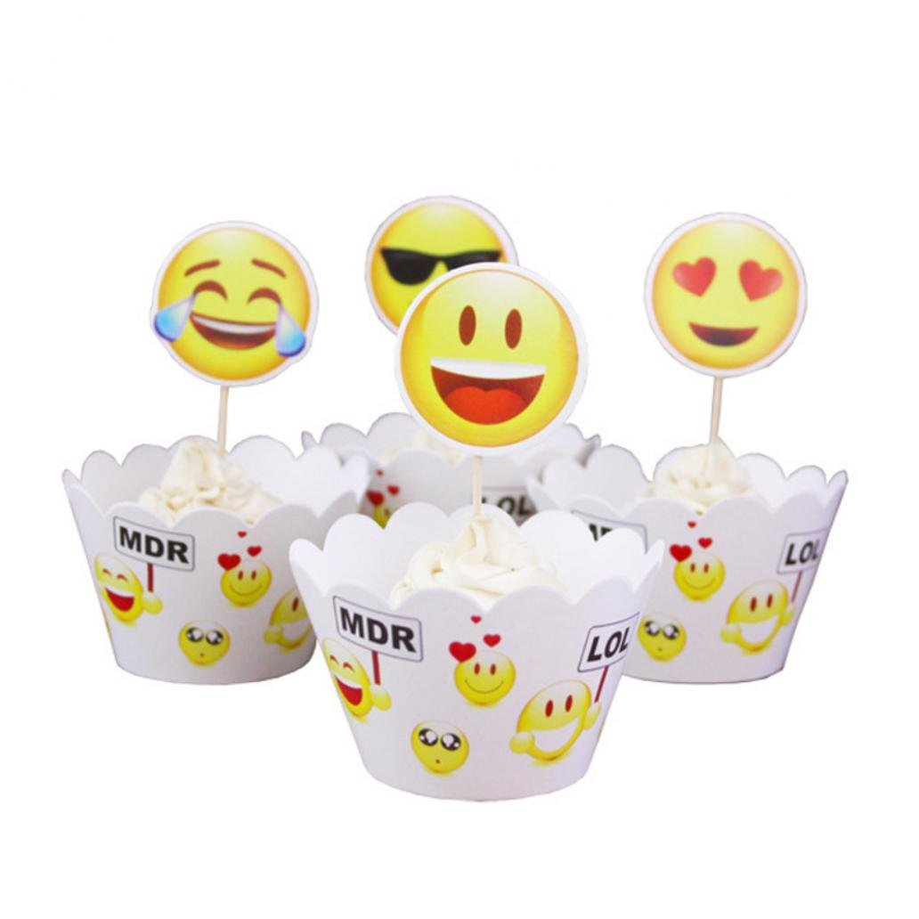 Jiacheng29 24Pcs Set Emoji Face Cupcake Wrapper Topper Picks Kids Birthday Party Cake Decor Decorations