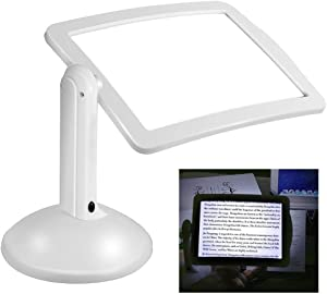 ZDMSEJ Full-Page Magnifier, Handsfree 3X Reading Full-Page Magnifier 2Led Magnifying Wallfire Loupe Glasses Desk Table Desktop Lamp Light