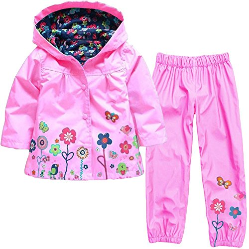 (Wennikids Baby Girl Kid Waterproof Floral Hooded Coat Jacket Outwear Raincoat Hoodies Clothing Set Medium Pink)
