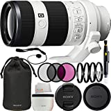 Sony FE 70-200mm f/4.0 G OSS Lens 14PC Accessory Bundle. Includes Manufacturer Accessories + 3PC Filter Kit (UV-CPL-FLD) + 4PC Macro Filter Kit (+1,+2,+4,+10) + Lens Pen + Cap Keeper + Microfiber Cleaning Cloth