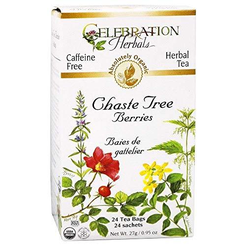 - Celebration Herbals Organic Chaste Tree Berries Tea, 24 Bags