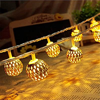 Goodia Moroccan Orb LED Fairy Lights Battery Operated with Warm White Leds