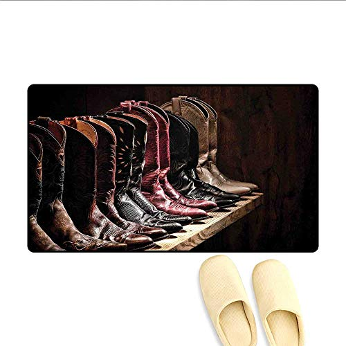 - Bath Mat Photograph of Various Type of Rodeo Fancy Cowgirl Leather Boots Collection Image Art Floor Mat Pattern Brown 32