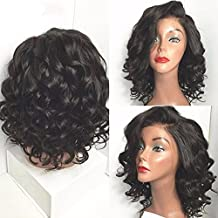 Maycaur Short Wave Human Hair Wigs Full Lace Human Hair Wigs With Baby Hair Lace Front Wig For Black Women 130 Density(12inch lace front wig)