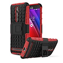 ZenFone 2 5.5 Case - MoKo [Heavy Duty] Rugged Armor with Kickstand Cover - Dual Layer Shock Resistant Case for ASUS ZenFone 2 ZE550ML / ZE551ML 2015 Release 5.5 Inch, RED (Not Fit Zenfone 2 Laser)