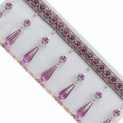 Wildgirl Window Curtain Crystal Pendant Braid Beading Fringe DIY Gimp 1m (Light Purple)