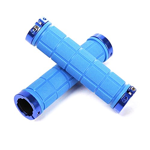 Blue Aluminum Handlebar (Bike Grips - Riipoo Double Locking Bike, Bicycle, Mountain Bike Handlebar Grips, Include 2 Handlebar Caps, Aluminum Alloy (Blue - 2))