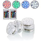 Kitosun Submersible LED Lights with Remote Battery Powered RGBW MultiColor Changing Waterproof Light for Vase Floral Aquarium Pond Wedding Halloween Party Kayak Hookah Centerpiece Pool Accent Lighting