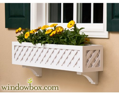 72 Inch Lattice Premier No Rot PVC Composite Flower Window Box w/ 2 Decorative Brackets by Windowbox