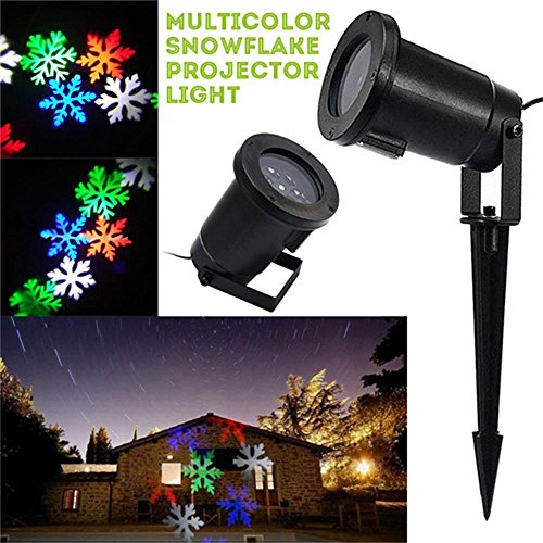 LED Projector Light Snowflake Landscape Lamp Christmas Window Decoration Projection Nightlight Automatic Rotating Spotlight Waterproof Sparkling Light for Indoor Outdoor Party(Colorful (Metal Sparkling Night Light)
