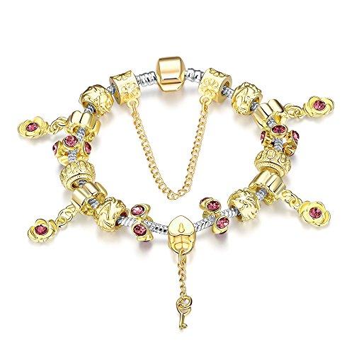 Murano Gold Bracelet Glass (Naivo Designer Inspired Crystal Snake Chain Murano Glass Beads Charm Bracelet, Golden Ruby)