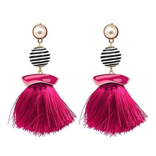 omylady Women Tassel Earrings Beaded Ethnic Fringe Drop Bohemian Dangle Earings Gift (Ball Style Rose)