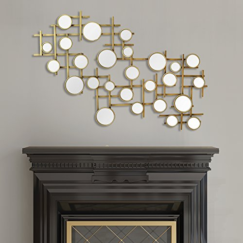 Stratton Home Decor S07744 Elegant Mirror Cluster Wall Decor, Gold