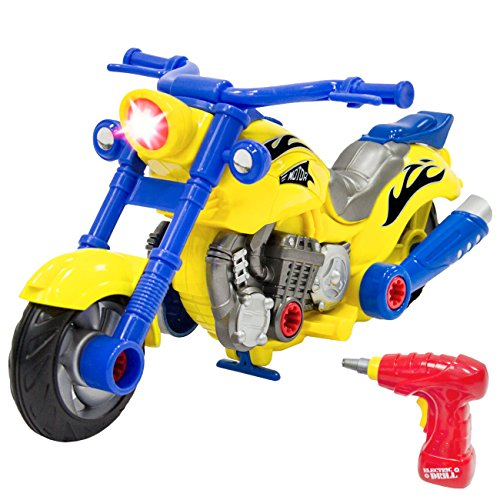 Best Choice Products Kids Toy 20-Piece Assembly Take-A-Part Motorcycle Set w/ Lights, Sound, Play Tools - Multicolor