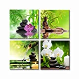 4 Panels Modern Decor Paintings SPA Stone Green Bamboo Pink Waterlily and Frangipani Pictures on Canvas Wall Art Framed Artwork for Home Decoration
