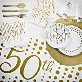 Sparkle and Shine Gold 50th Anniversary Deluxe Party Kit, Serves 24