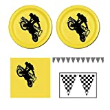 Motorcross Party Pack - 16 guests - cake plates, napkins and banner