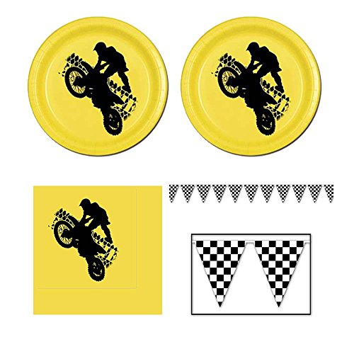Motorcross Party Pack - 16 guests - cake plates, napkins and banner -