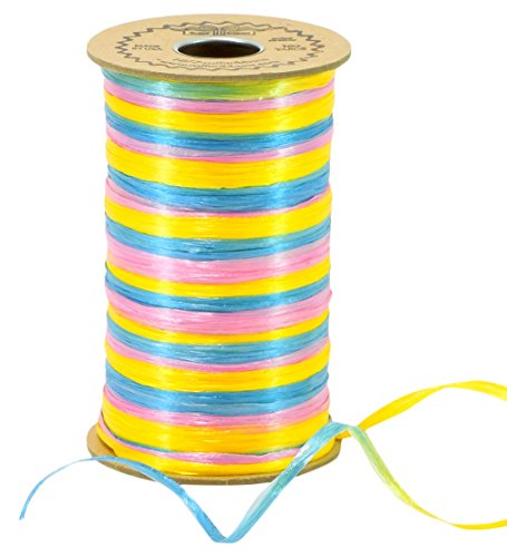 Raffia 3-Color Pink, Bright Yellow & Light Blue Baby Combination Pearl Finish -